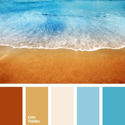Contrast of blue shades of sea water and of bronze-red, sand – beach colors is softened with very light pink-lavender color of sea foam. This color would be the best solution for study-library or bathroom. This color combination will look good in summer wardrobe, both male and female.