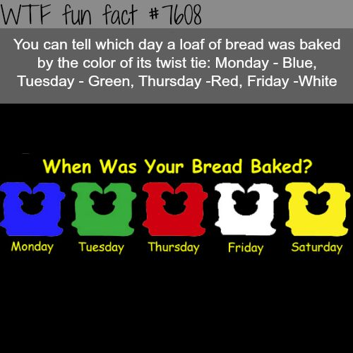 How to tell which day your bread was baked - WTF fun facts