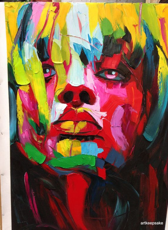 "Abstract Portrait Woman's Face Palette Knife Textured Oil Painting 24x36"" Handpainted Francoise Nielly F3"