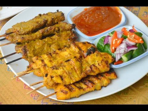 Thai Cooking Recipe: Chicken Satay with Peanut Sauce from Lobo (Thai food) www.lobo.co.th - YouTube