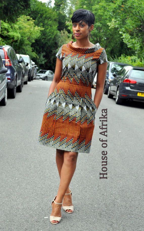 African print high collar dress