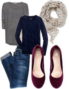 grey tee. navy sweater. jeans. polka dots. cute flats