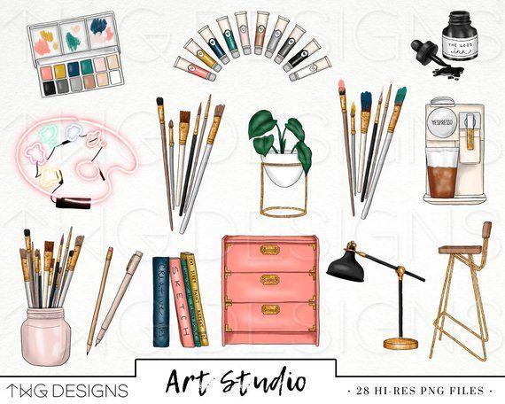 Art Studio Fashion Girl Clip Art Watercolor Clipart Artist Paint Supplies Painter Watercolor Flowers Hand Drawn Planner Sticker Graphics Art Studio Clip Art Planner Stickers