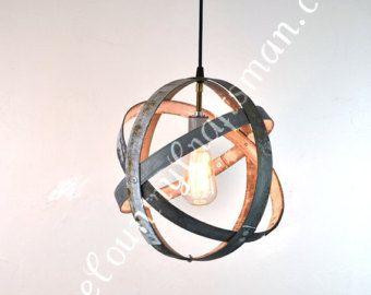 "ATOM -  ""Atom"" -  Small Wine Barrel Ring Hanging Lantern - 100% RECYCLED"