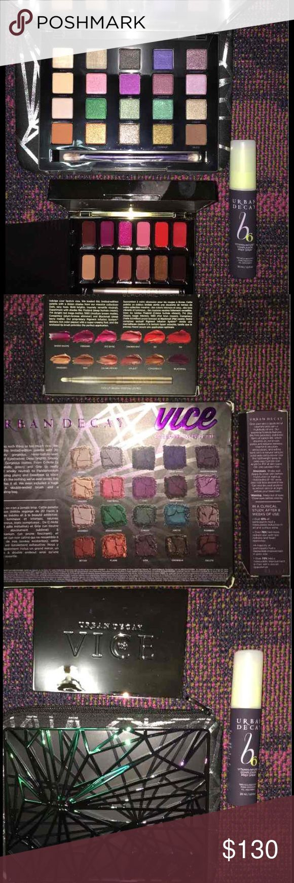 URBAN DECAY LIMITED EDITION SET Brand New Limited Edition Authentic Urban Decay Vice Eye and Lip Palette Set Includes: 1-Urban Decay Vice 4 Eye Palette  1 - Urban Decay Vice (Blackmail) Lipstick Palette  1 - Urban Decay B6 Vitamin Infused Complexion Prep Spray                             NEW IN BOX Urban Decay Makeup Eyeshadow