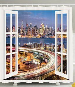 The New York Skyline Shower Curtain NYC Decor Home Decorations Pictures with Art Prints in Panoramic View Panorama Decor for Apartments and Houses Blue Yellow Navy Gray