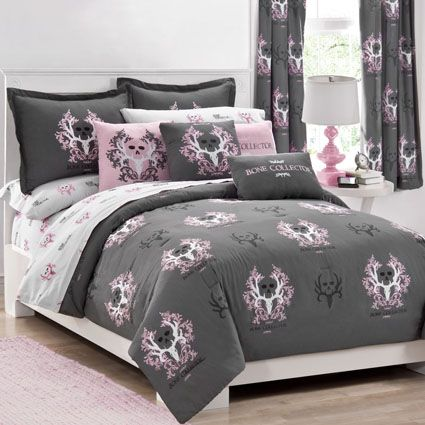 Bone Collector Pink / Grey Bedding Comforter & Pillow Sham Set for girls bedroom in grey with the pink bone collector skull logo.