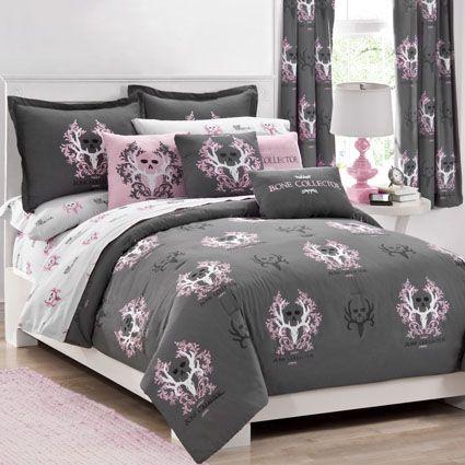 Bone Collector Grey Pink Skull Bedding Comforter Pink Skull And Girls Be