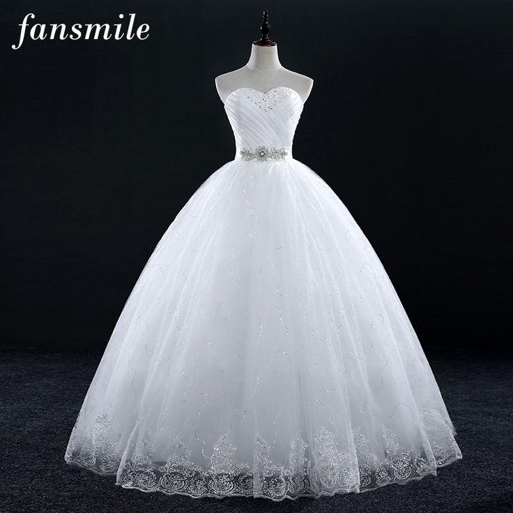 Fansmile Cheap Vintage Lace Bridal Wedding Dresses 2017 Customized Plus Size Princess Ball Gown Wedding Dress Under $50 FSM-175F