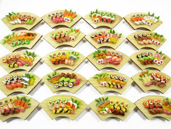 Dolls House Miniatures Japanese Food 20 Sushi Lunch Box Curve