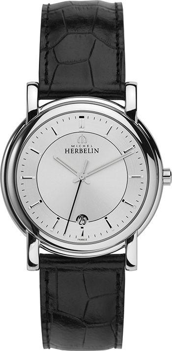 Michel Herbelin Classique - Homme - 12243/11 - Quartz - Analogique - Cadran en Acier inoxydable Argent - Bracelet en Cuir Noir - Date - Montre Homme