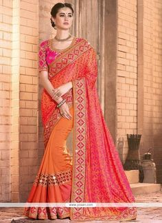 Excellent Mirror Work Silk Designer Bridal Sarees Model: YOSAR8147
