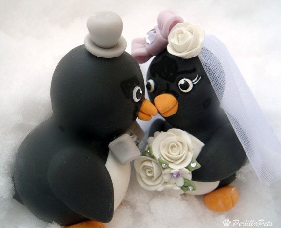 Penguin wedding cake topper  love birds with by PerlillaPets, $86.00