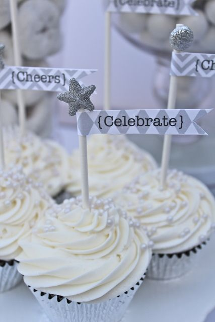 Cupcakes at a Silver and White