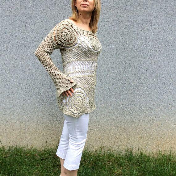 Crocheted Long Sleeve Ecru Summer Spring Top, Loose Blouse, Shrug Sweater, Cream Tunic, Ivory Knitwear, Slouchy Beige Shirt