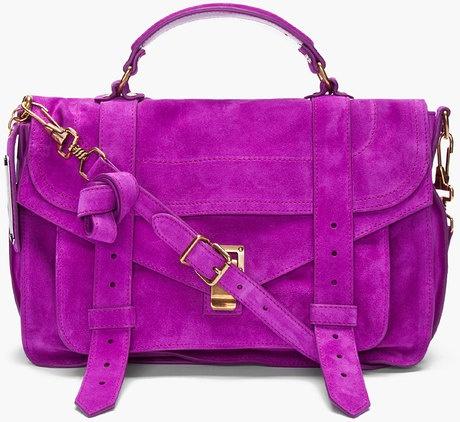 Proenza Schouler // Ps1 Medium Purple Suede Satchel.