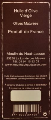 Contre étiquette huile d'olive Moulin du Haut Jasson