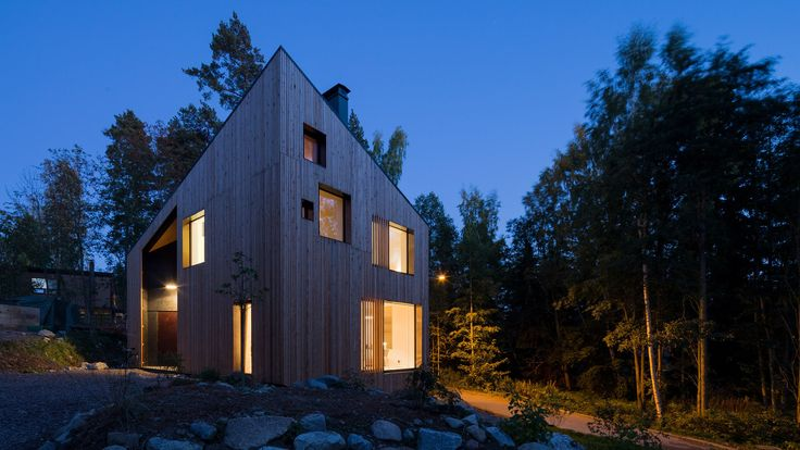 This angularhouse in a forest nearHelsinkiis host to a number a child-friendly features including a climbing wall, gymnastic apparatus.