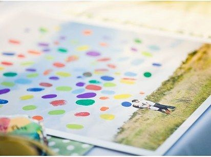 Turn your guestbook into a colorful keepsake. | 35 Incredibly Fun Ways To Add Color To Your Wedding