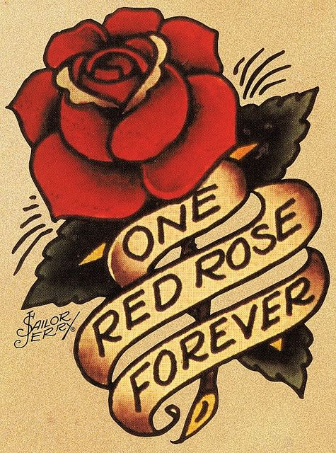 """one red rose forever"" sailor jerry"