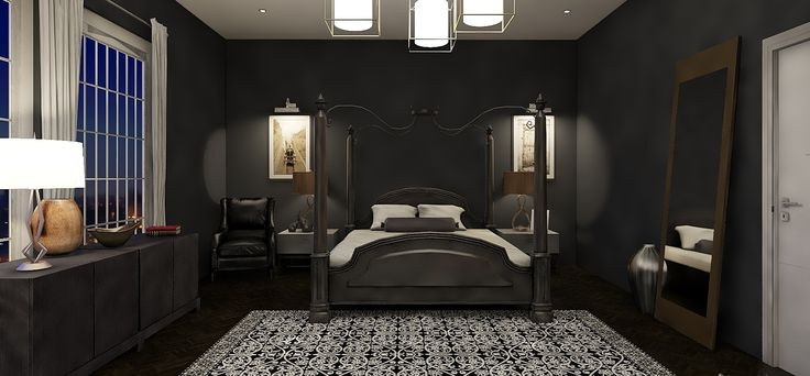 Modern Goth bedroom. Design by MKY Design Studio #goth #moody #interiordesign #interior #design #3d #render #bedroomideas
