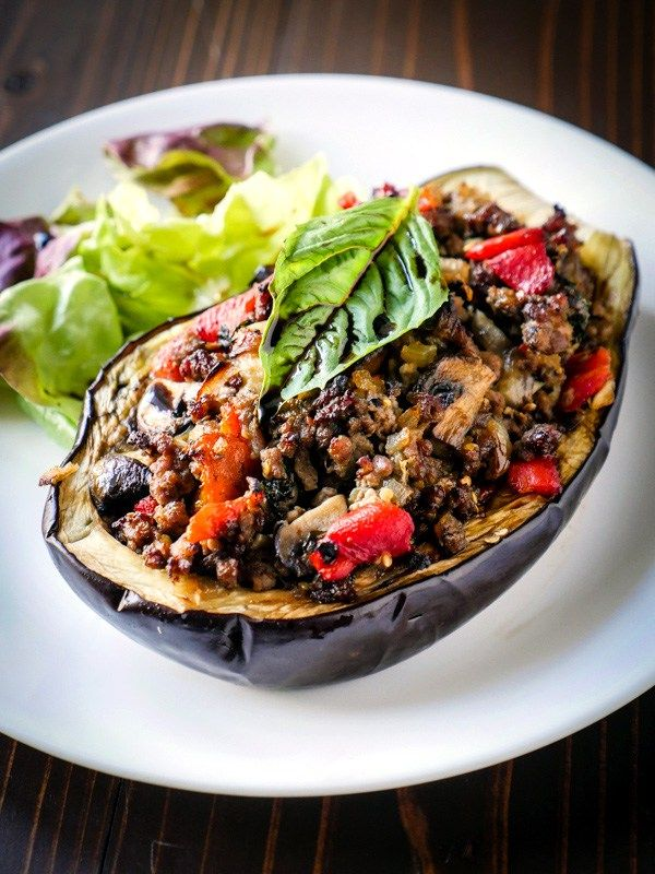 This simple Balsamic Chicken Stuffed Eggplant recipe creates a flavorful and satisfying meal in no time at all. Paleo, Whole30, & Gluten-free.