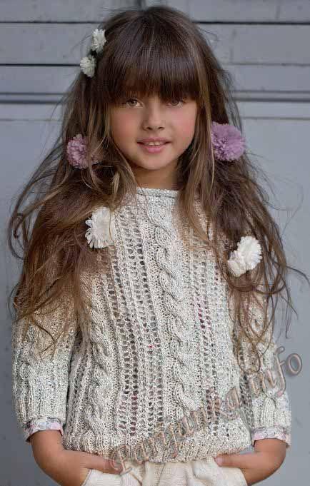 Для юных модниц (от 4 до 16 лет): пуловер спицами (Франция). Обсуждение на LiveInternet - Российский Сервис Онлайн-Дневников