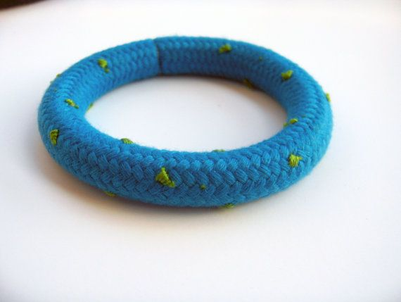 TurquoiseClimbingRope Bangle /Green Polka by JollyJollyJulie, Ft3500.00