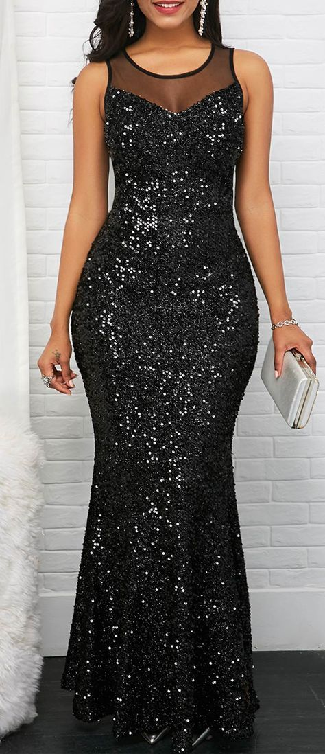 b4027ab5053a22 Black Sleeveless Mesh Panel Sequin Maxi Dress