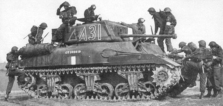 Excellent Left Side view of the M4A5 Medium Tank / Canadian Ram Mk.II late Production Model. Evident is the elimination of the auxiliary gun turret on the Left side of the Front Hull and Side Doors. Used in training only by the Canadian Army during World War II.
