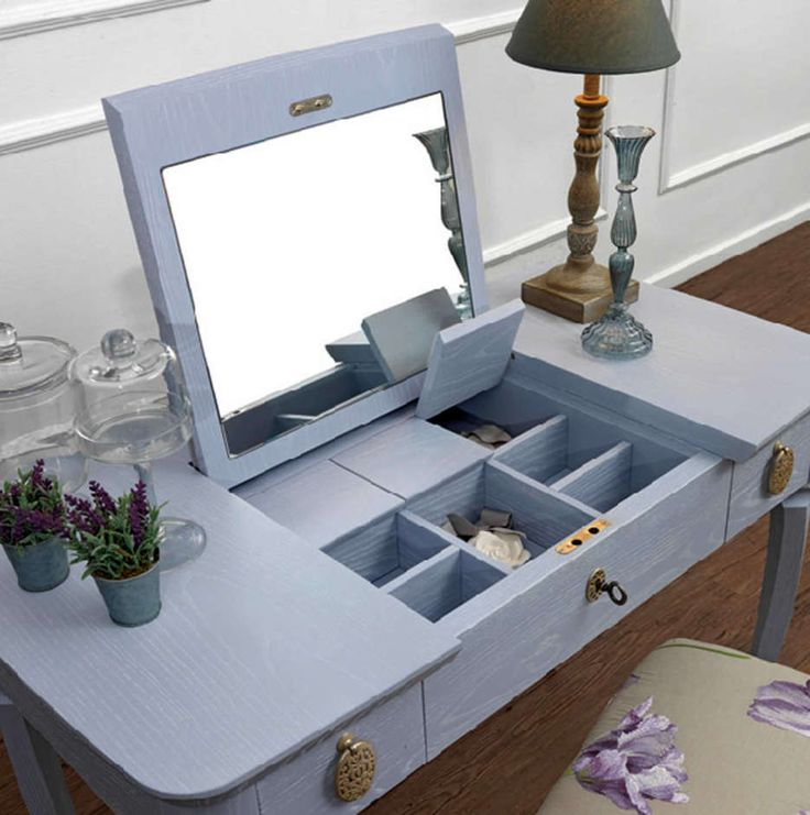 Dream makeup vanity idea - does anyone know what that style is called with the fold up top and hidden storage? Looks great for hiding clutter :) | Traditional Minimalist Blue Wooden Dressing Table With Hidden Storage Compartments And Single Mirror