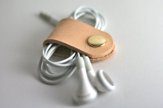 Leather Headphone Cable Band Organizer. Free Shipping Within the US
