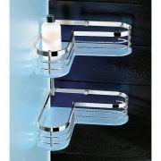 TOSCANA LUCE Angolare Doccia portaoggetti in ottone cromato e plexiglass
