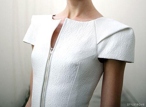 Structured dress shoulder detail