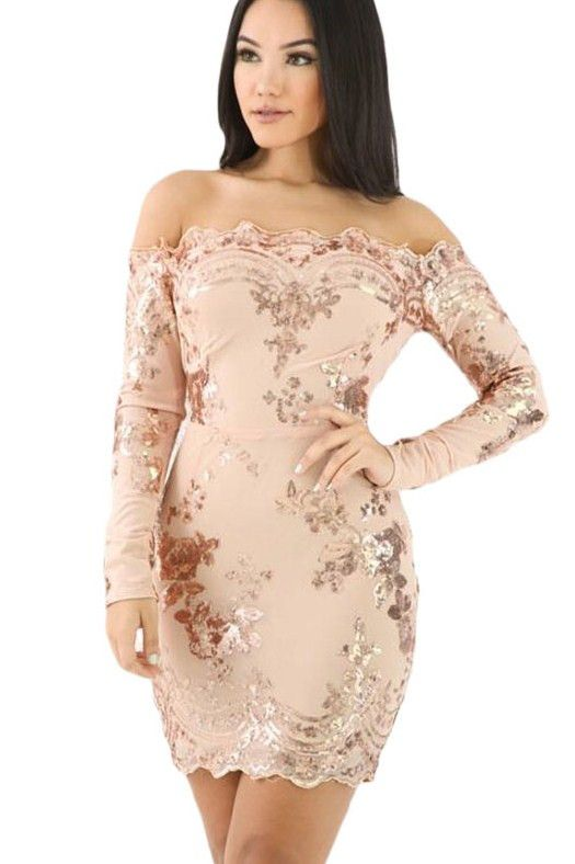 Apricot Scalloped Trim Off Shoulder Sequin Floral Bodycon Dress https://www.modeshe.com #modeshe @modeshe #Apricot