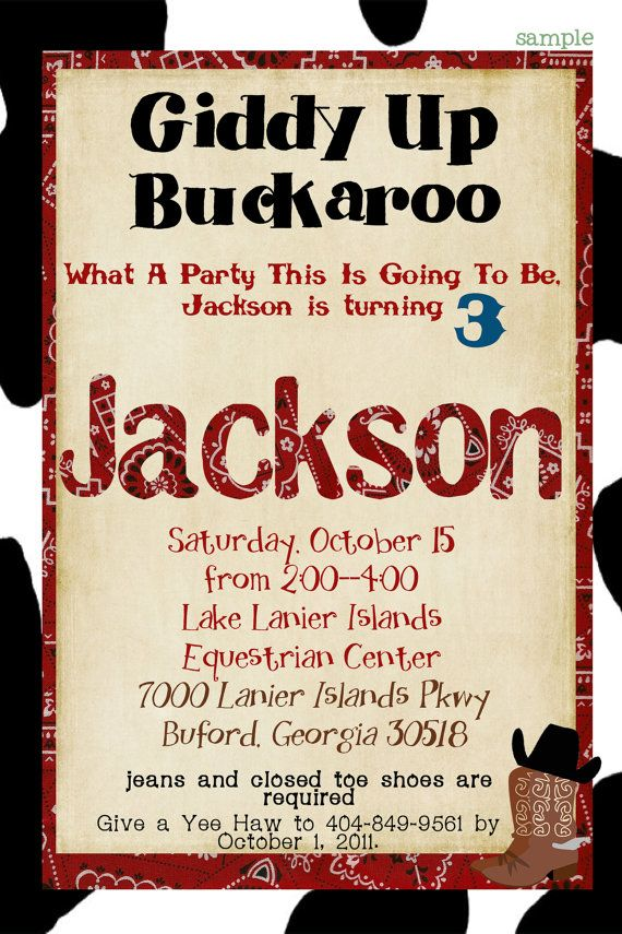 Cowboy Birthday Party Invitation cow print by