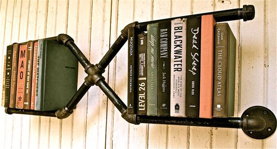 industrial pipe bookshelf.Bookshelves, Home Accessories, Design Trends, Unusual Furniture, Pipe Bookshelf, Wall Shelves, Book Shelves, Industrial Pipe, Pipe Shelves