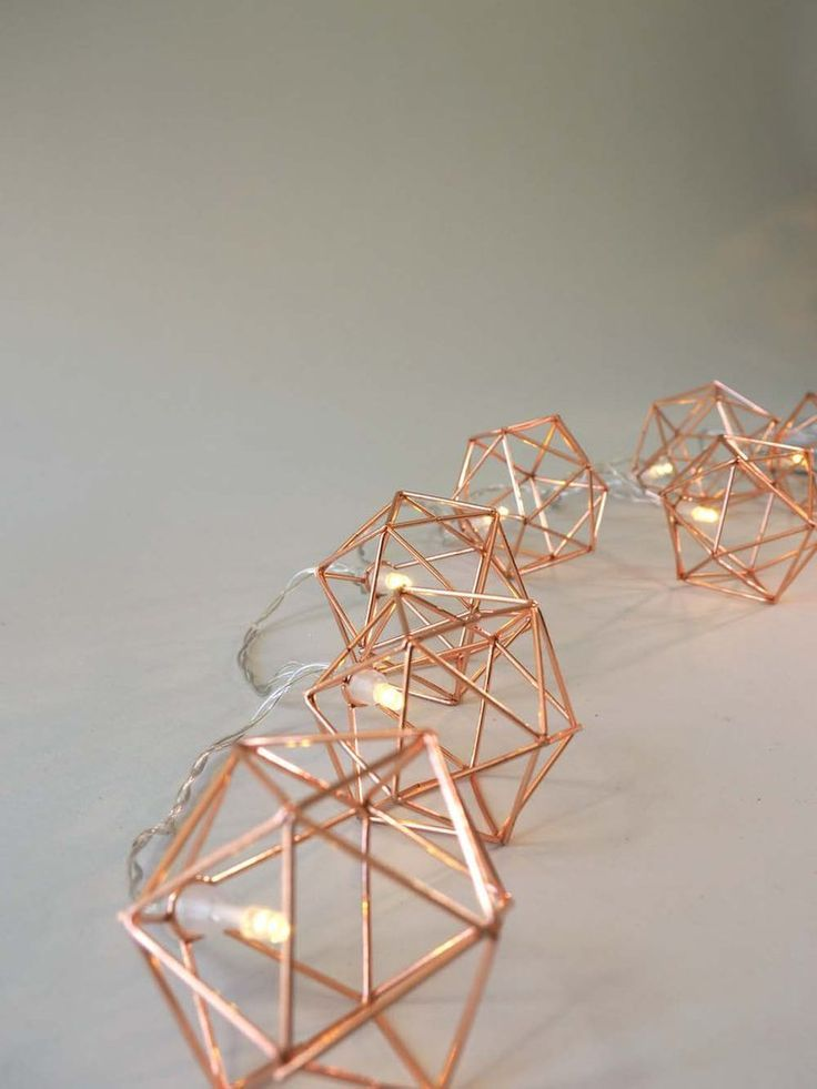 Copper Geometric Fairy Lights All About Home Geometric Decor Copper Room Decor Fairy Lights Decor