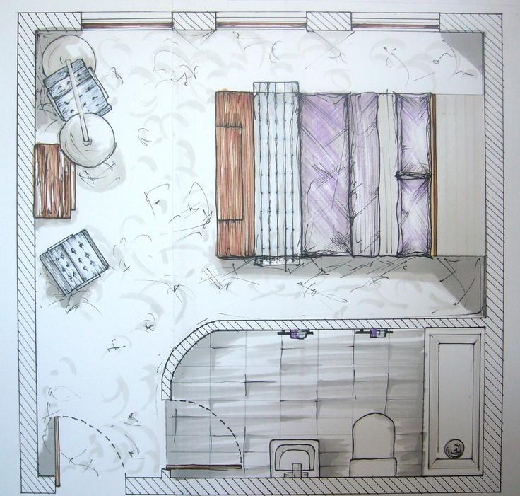 Hotel Bedroom with Ensuite - Floorplan