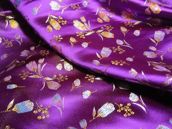 Chinese Satin Brocade In Rich Purple One Yard Of Radiant