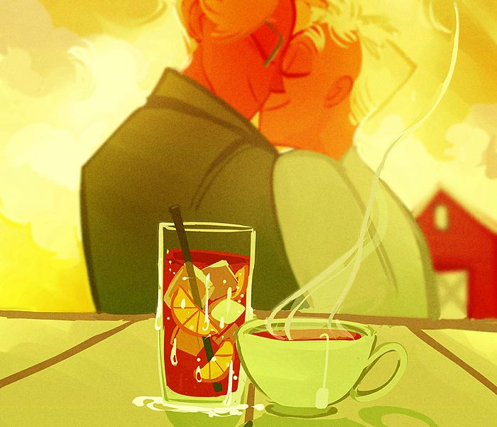 So while coffee is still America's main steeped drink 51% of Americans nowadays drink tea daily through 85% of it is ice tea. So I just wanted to draw some cute usuk to represent that. I have a headcanon that they vacation to America's farm house in...