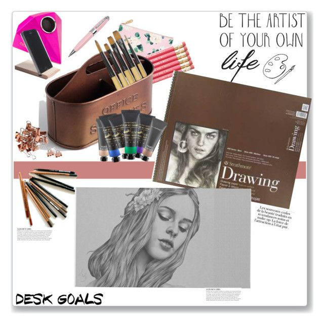 """Art desk"" by tattooedmum ❤ liked on Polyvore featuring interior, interiors, interior design, home, home decor, interior decorating, ban.do, Cost Plus World Market, ICE London and ADZif"