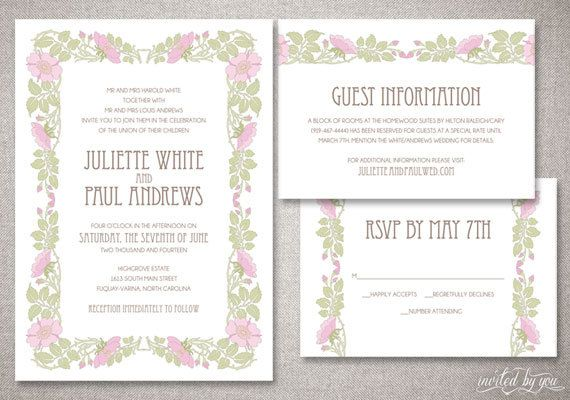 "Art Nouveau ""Juliette"" Wedding Invitations Suite - Vintage Garden Floral Deco Invitation - Custom DIY Digital Printable or Printed Invite"