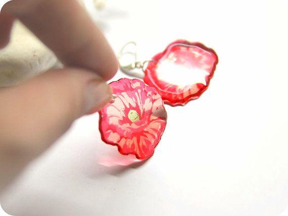 Résine transparente fleurs boucles d'oreilles  sœur par TomkaStore