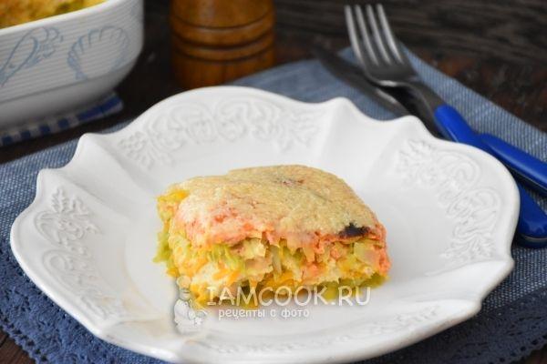Запеканка с овощами, сыром и фаршем из индейки