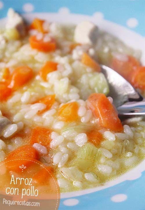 Arroz con pollo para bebés y niños 4 zanahorias, 1/2 calabacín,1 cebolleta,1/2 pechuga de pollo,1 vaso de arroz, 4 ó 5 vasos de agua o caldo de pollo, Aceite de oliva  Picamos la zanahoria, el calabacín y la cebolleta y rehogamos en la cazuela con un poco de aceite de oliva virgen extra. Incorporamos el pollo cortado en daditos pequeños, rehogamos un par de minutos y hacemos igual con el arroz. Ya sólo nos queda incorporar el gua o caldo de pollo y dejamos cocinar a fuego suave unos 20…
