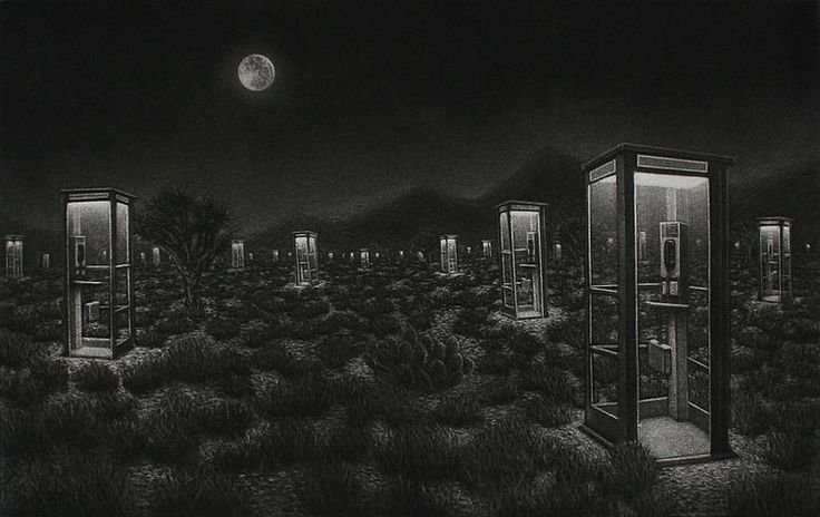 Tim Smith. Obsolescence. Mezzotint. 2012. Edition 30. 7 1/2 x 11 3/4 inches.