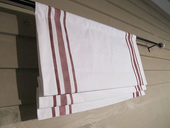 Faux Roman Shade with Faux Hand PAINTED Stripes Valance Rod Pocket Red Stripes on White Canvas Classic Modern Farmhouse Simplicity