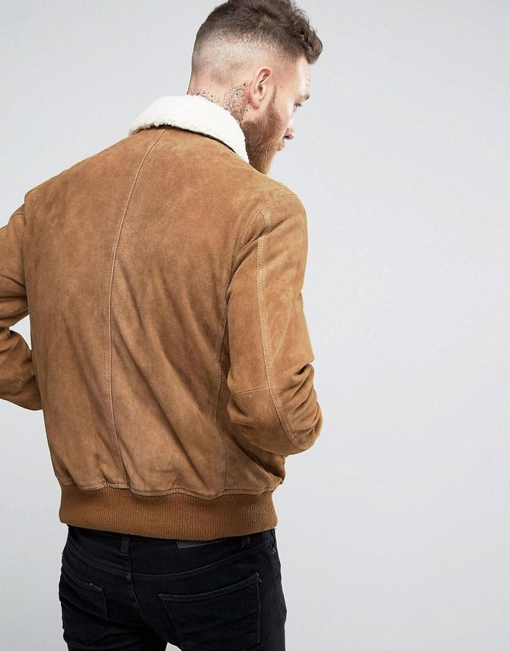 ASOS Leather Flight Jacket With Borg in Tan - Tan