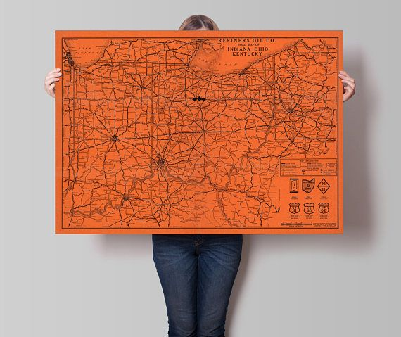 108 best world states regional maps images on pinterest road map of indiana ohio and kentucky vintage road map of usa ohio map kentucky map wall decor wall art map indiana map amc154 publicscrutiny Images